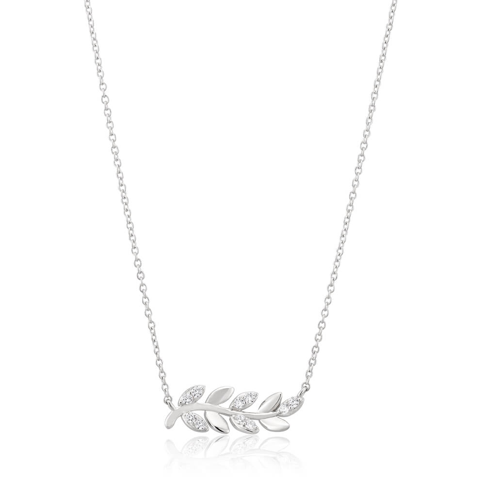 Sterling Silver Rhodium Plated Cubic Zirconia Leaf Branch Pendant With 40 + 5cm Chain