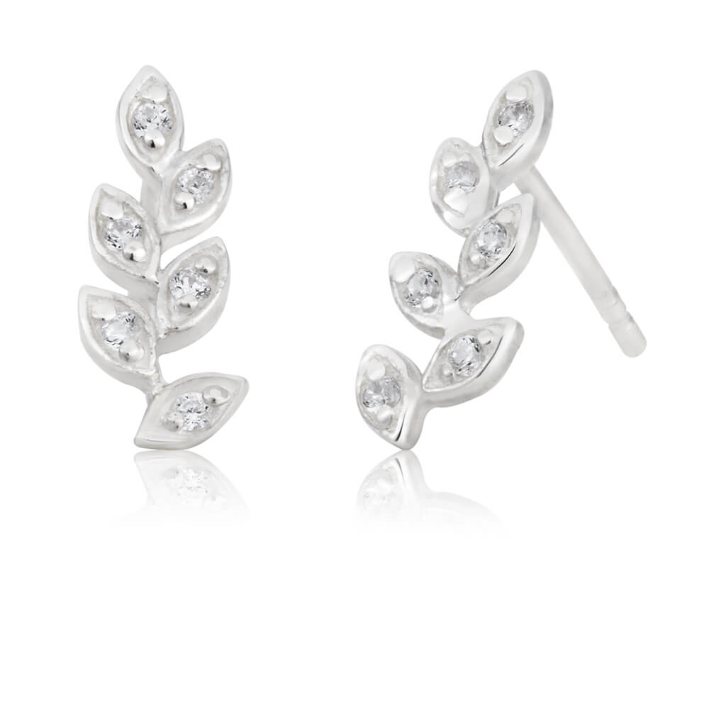 Sterling Silver Cubic Zirconia Leaf Branch Stud Earrings