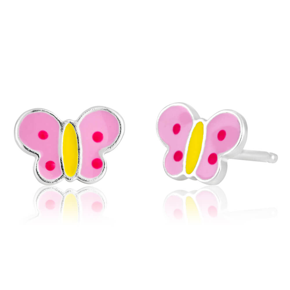 Sterling Silver Butterfly Pink and Yellow Stud Earrings