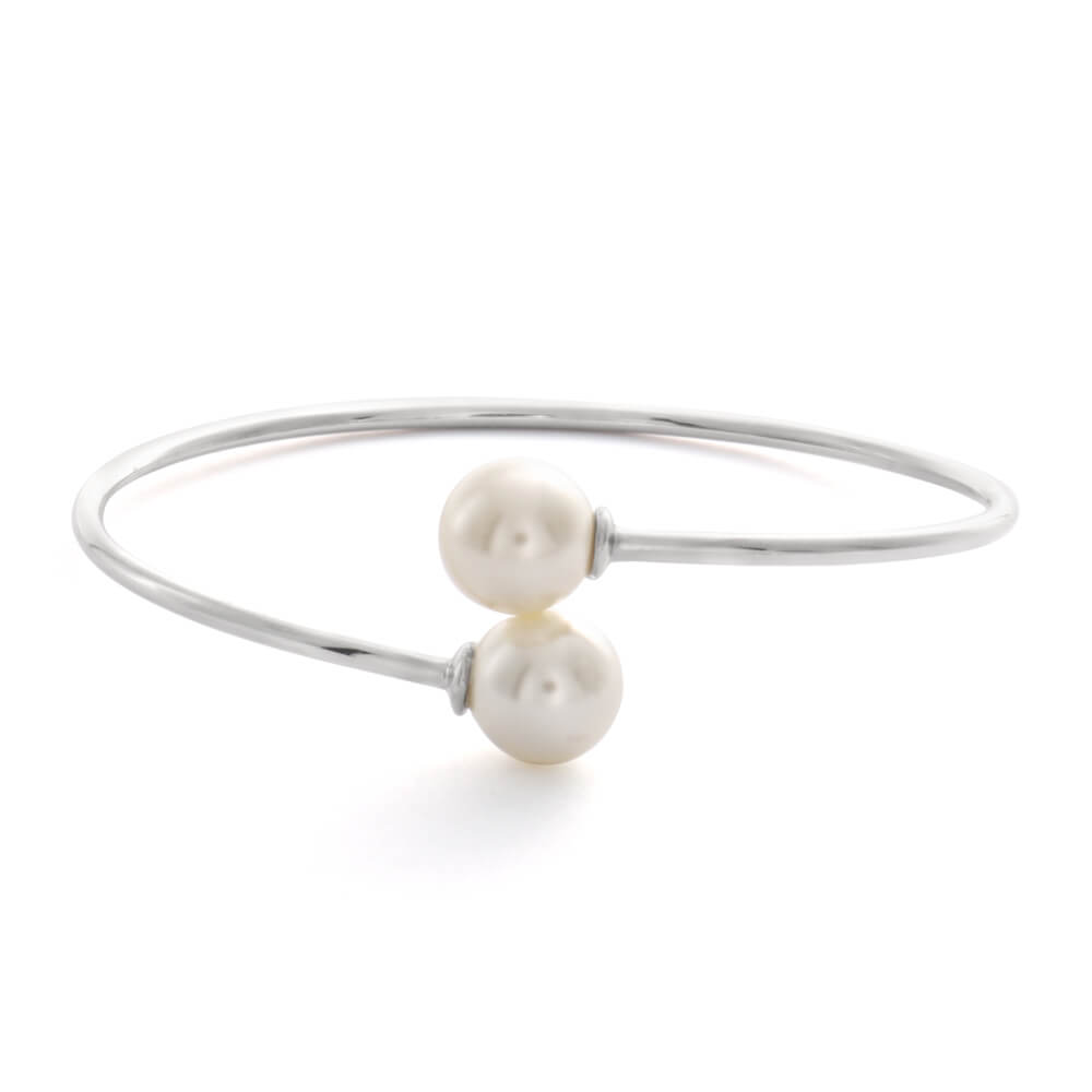 Sterling Silver Rhodium Plated Simulated Pearl Bangle
