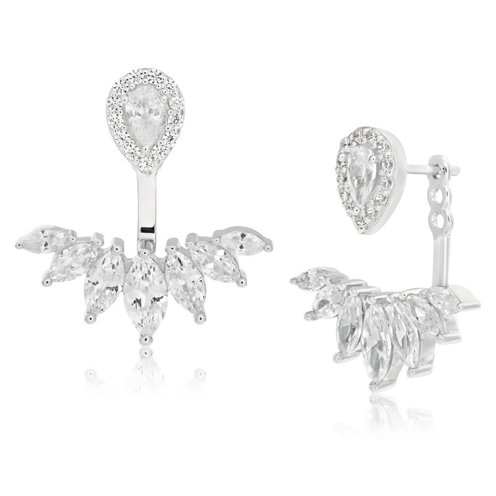 Sterling Silver Rhodium Plated Cubic Zirconia Marquise Cut Ear Jacket Stud Earrings