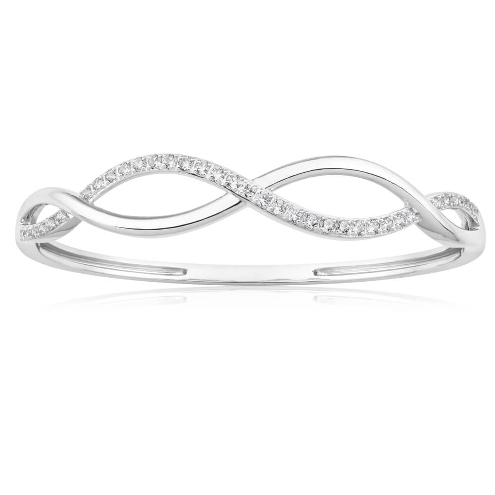 Sterling Silver Rhodium Plated Cubic Zirconia Open Twist 60mm Hinged Bangle