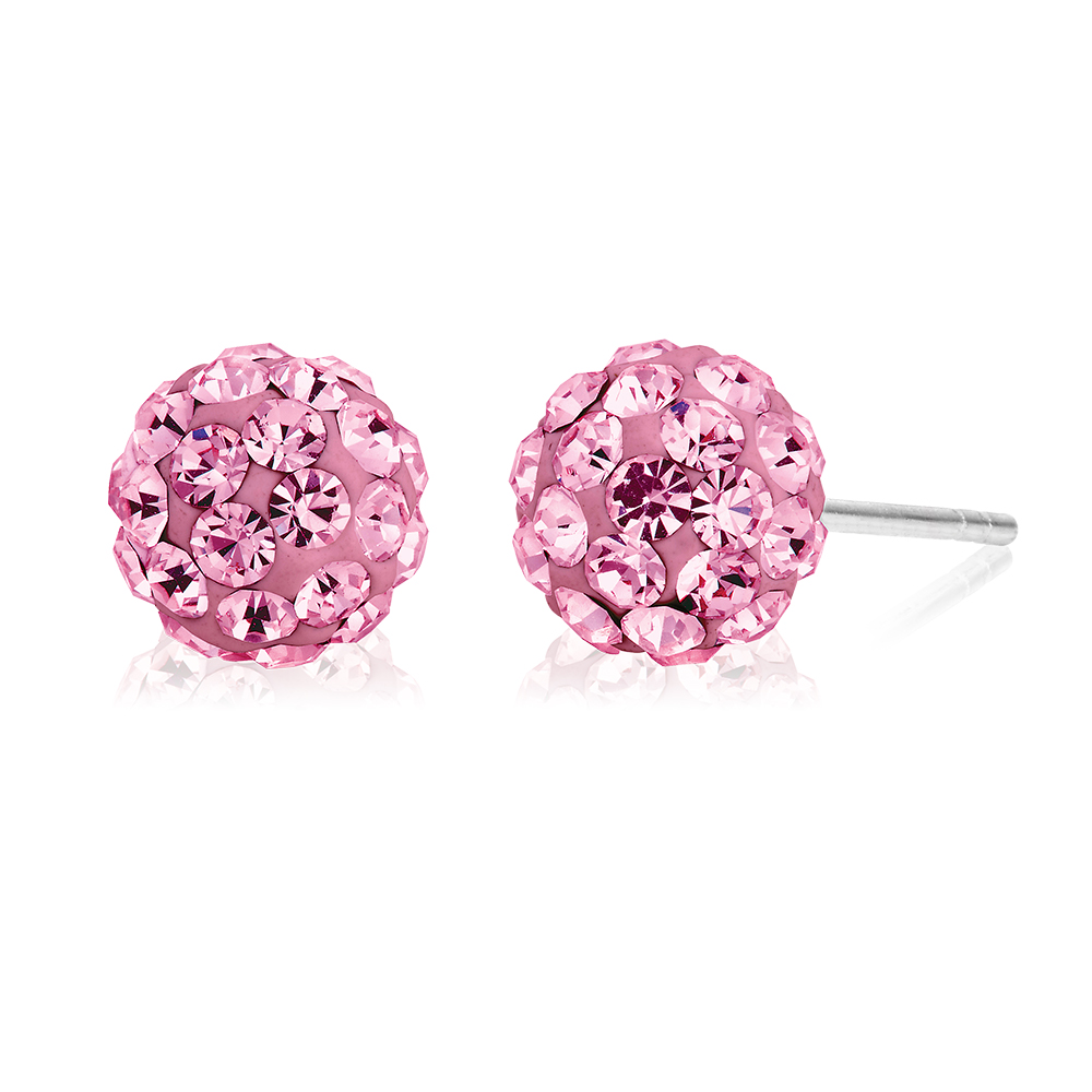 Sterling Silver Crystal Pink Stud Earrings