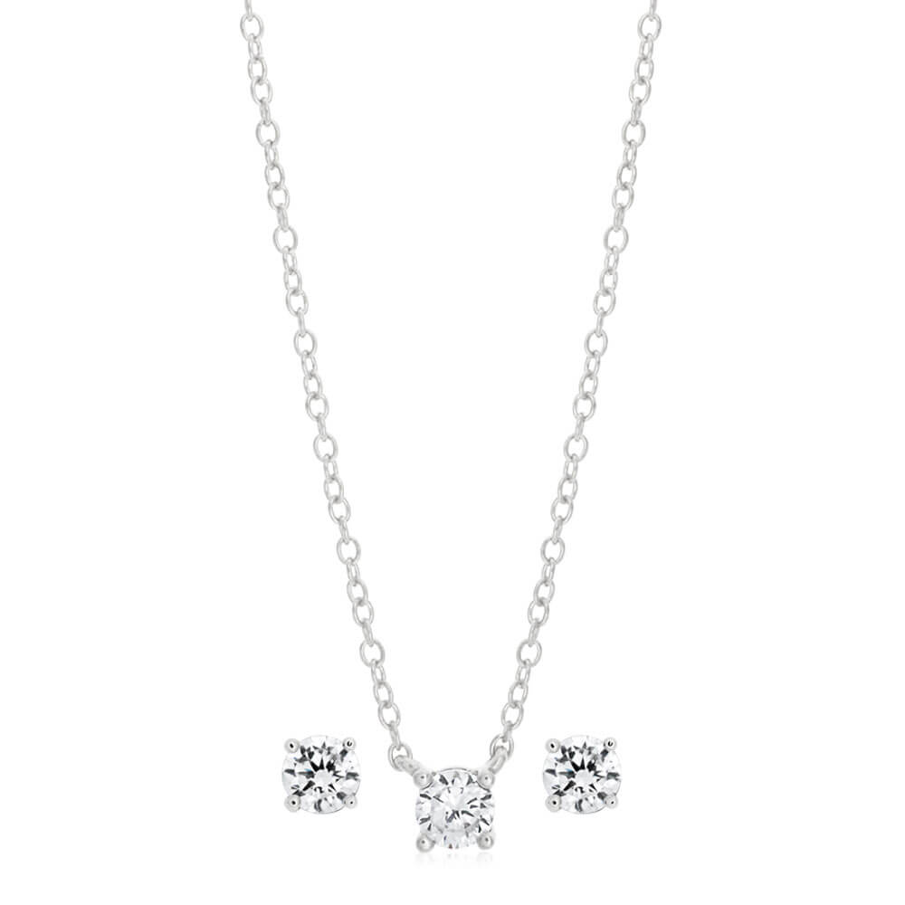 Sterling Silver Rhodium Plated 4mm Cubic Zirconia Studs and Pendant on 45cm Chain