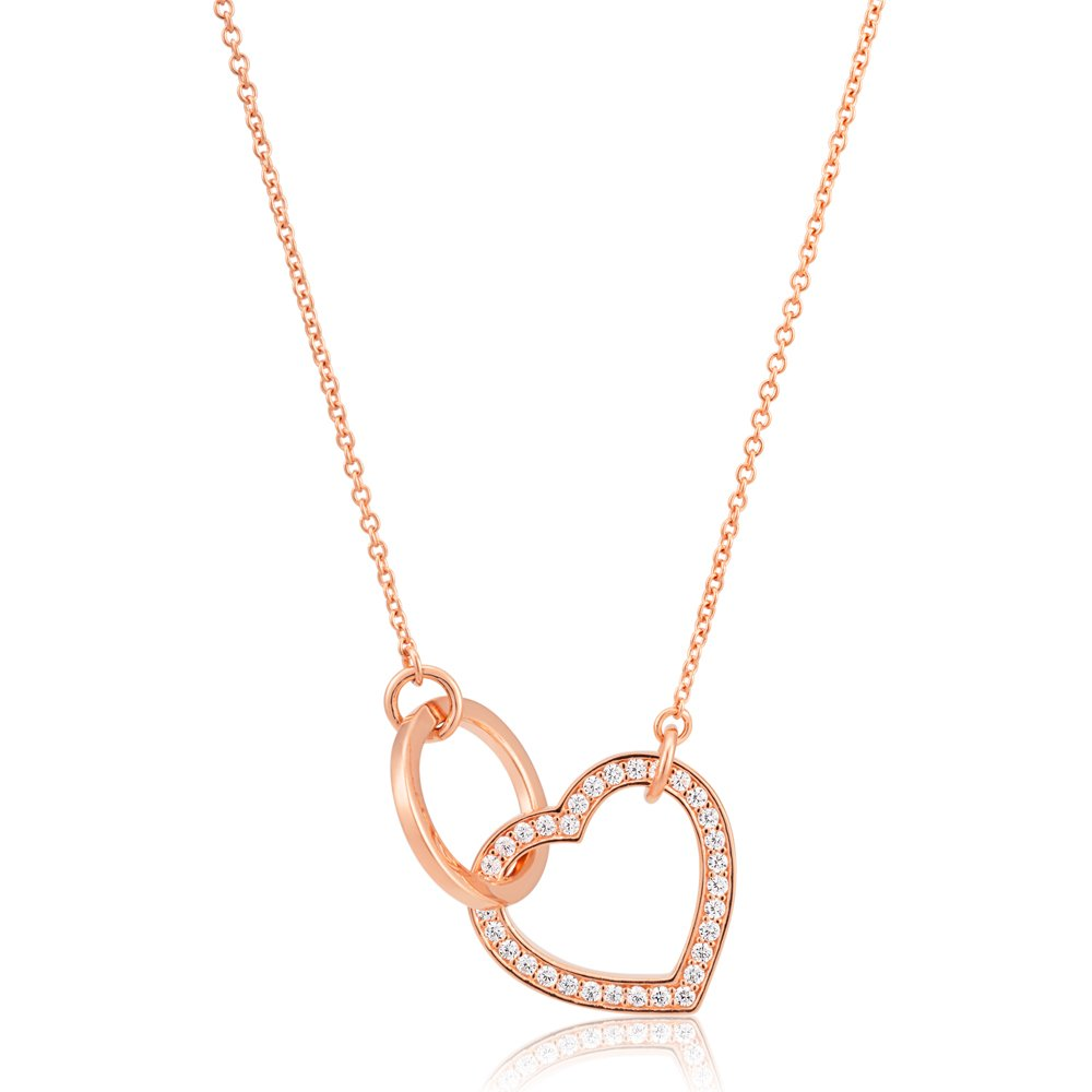 Sterling Silver Zirconia Heart & Circle Pendant with 40 + 5cm Chain Rose Gold Plated