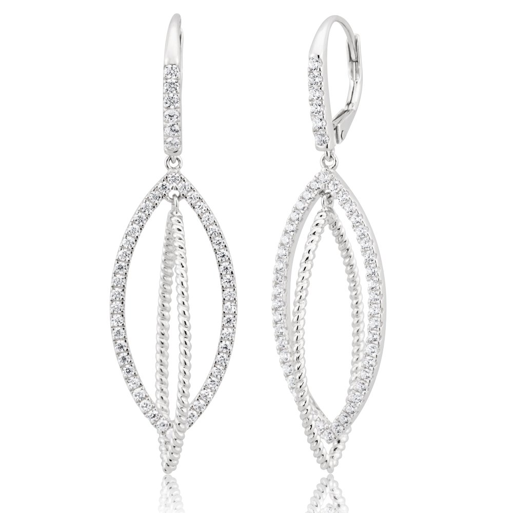 Sterling Silver Cubic Zirconia Double Loop Drop Earrings