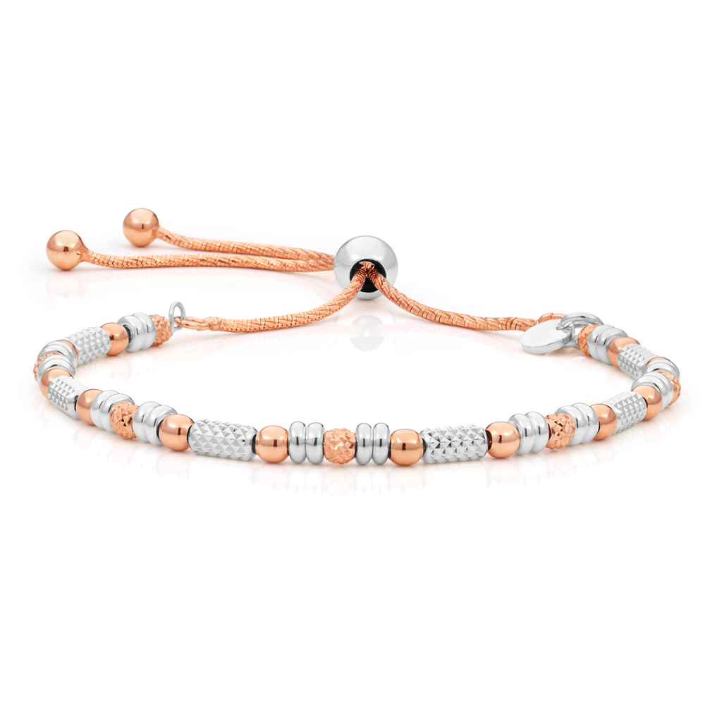 Sterling Silver Rose Gold Plated Fancy Bead Adjustable Bracelet