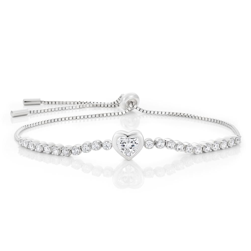 Sterling Silver Rhodium Plated Zirconia Heart Adjustable Bracelet