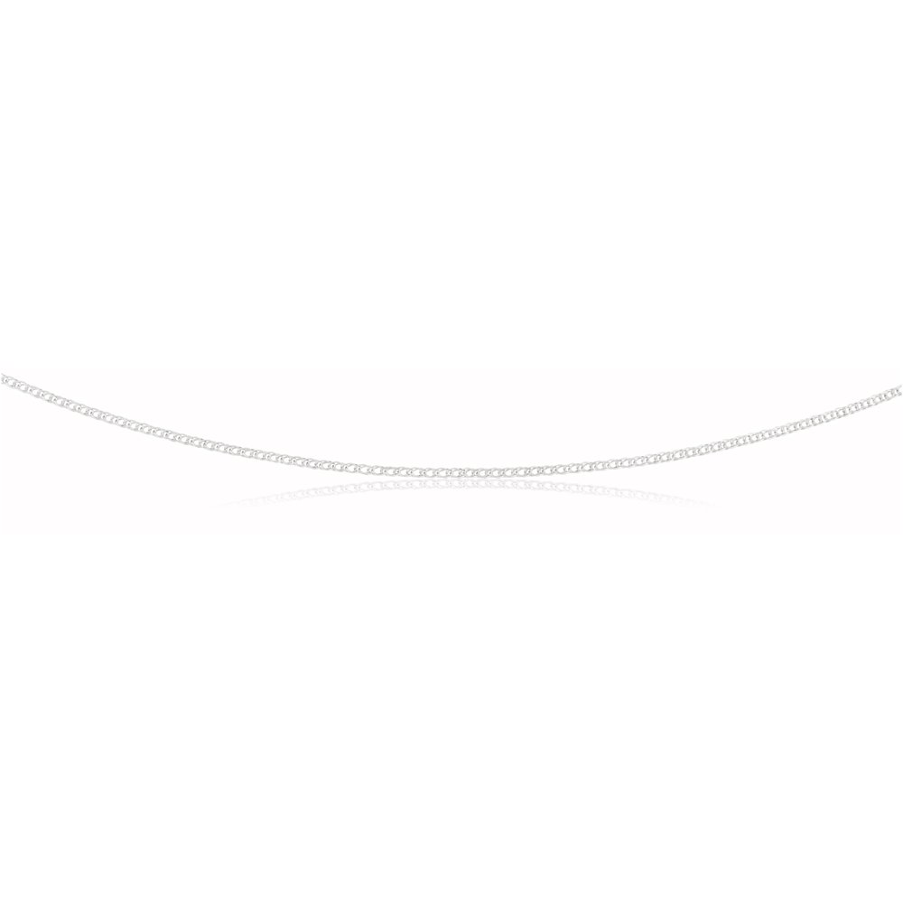 Sterling Silver Rhodium Plated 45cm Double Curb Chain