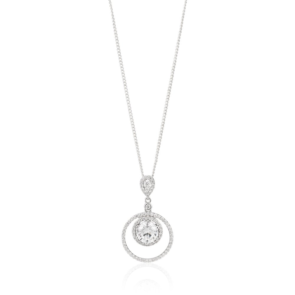 Sterling Silver Rhodium Plated Zirconia Double Ring Pave Drop Pendant