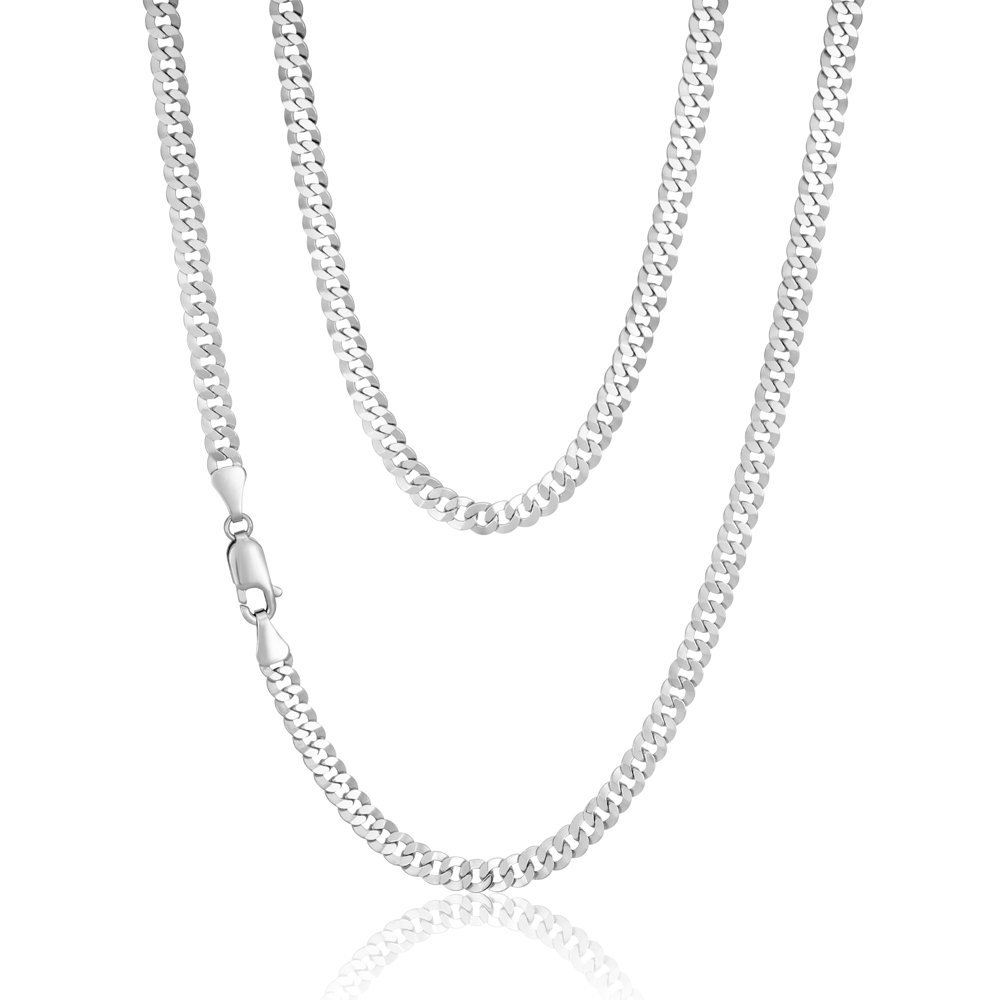 Sterling Silver Rhodium Plated 55cm 90 Gauge Flat Curb Chain