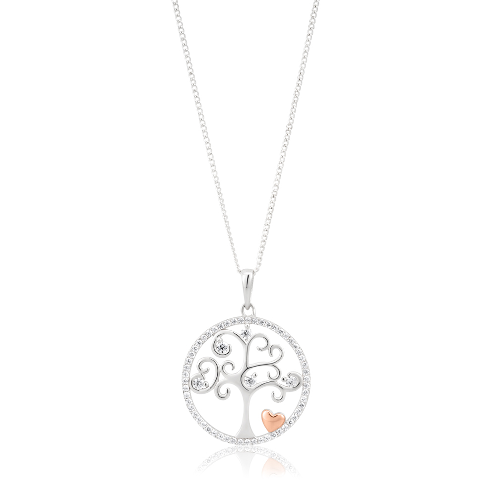 Sterling Silver Rhodium and Rose Gold Plated Tree of Life and Heart Zirconia Pendant