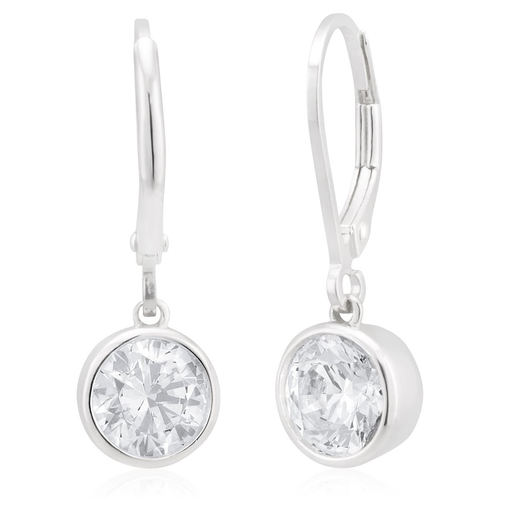 Sterling Silver Cubic Zirconia 6.5mm Bezel Drop Earrings