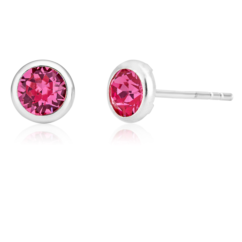 Sterling Silver 5mm Pink Swarovski Crystal Stud Earrings   *colours may vary*
