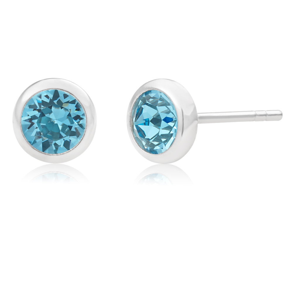 Sterling Silver 5mm Blue Swarovski Crystal Stud Earrings   *colours may vary*