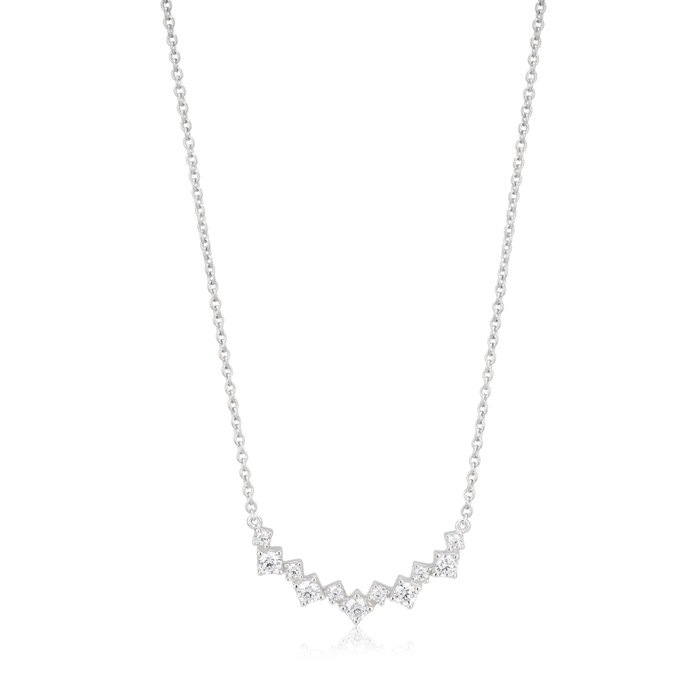 Sterling Silver Rhodium Plated Cubic Zirconia Fancy Curve Bar Necklace 40cm+5cm