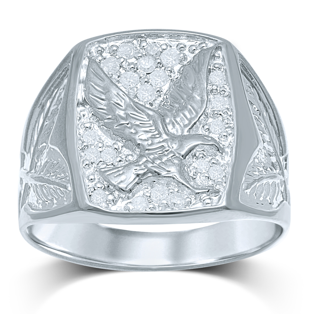20 Diamonds Eagle Gents Ring in Sterling Silver