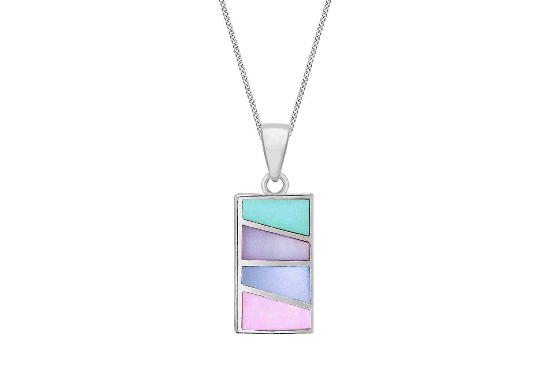 Sterling Silver Multicolour Mother of Pearl Pendant on Adjustable 41cm Curb Chain