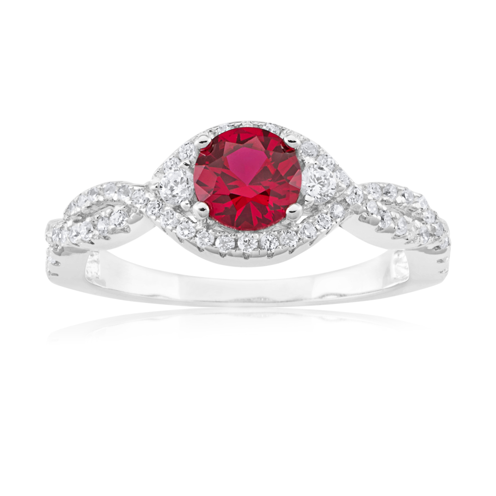 Sterling Silver Created Ruby and Zirconia Ring