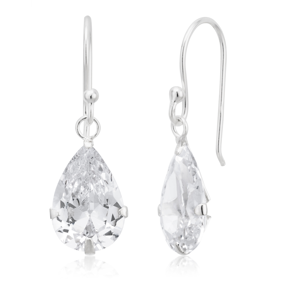 Sterling Silver Pear Drop Claw Set Earrings