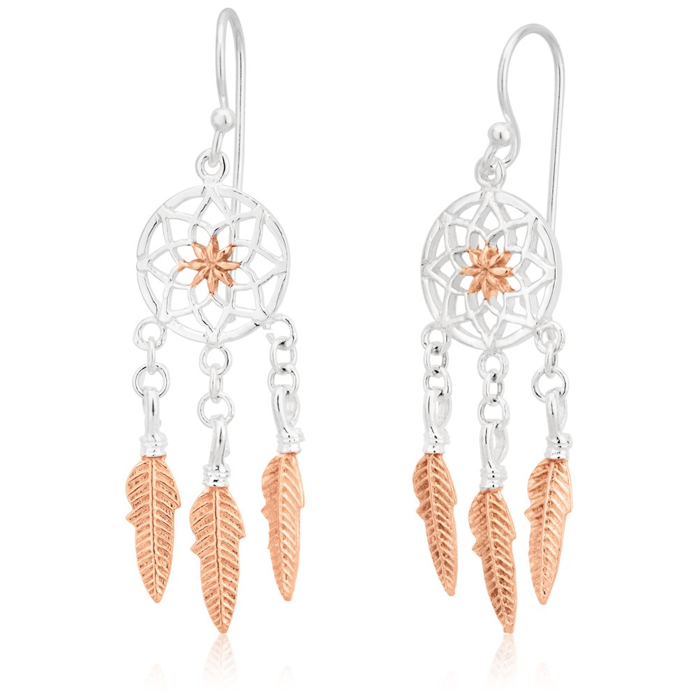 Sterling Silver and Rose Gold Plated Dreamcatcher Drop Earrings