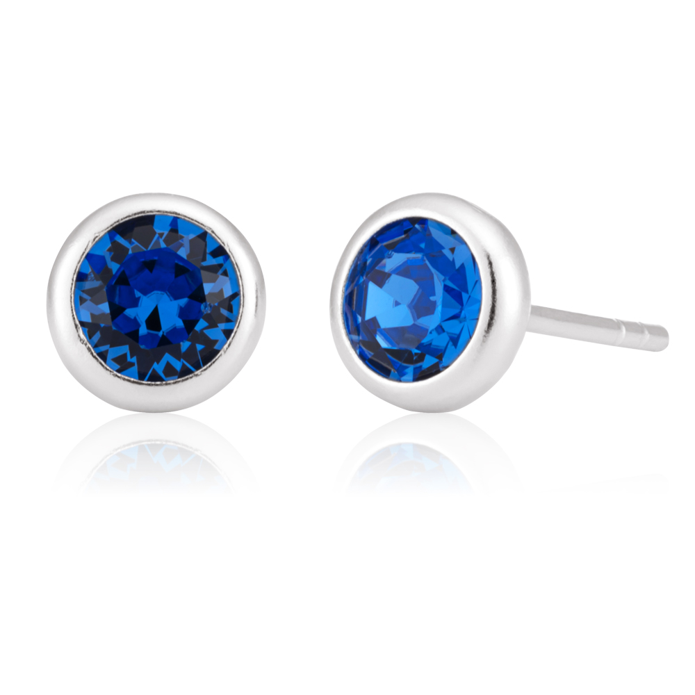 Sterling Silver Swarovski Sapphire Crystal Stud Earrings