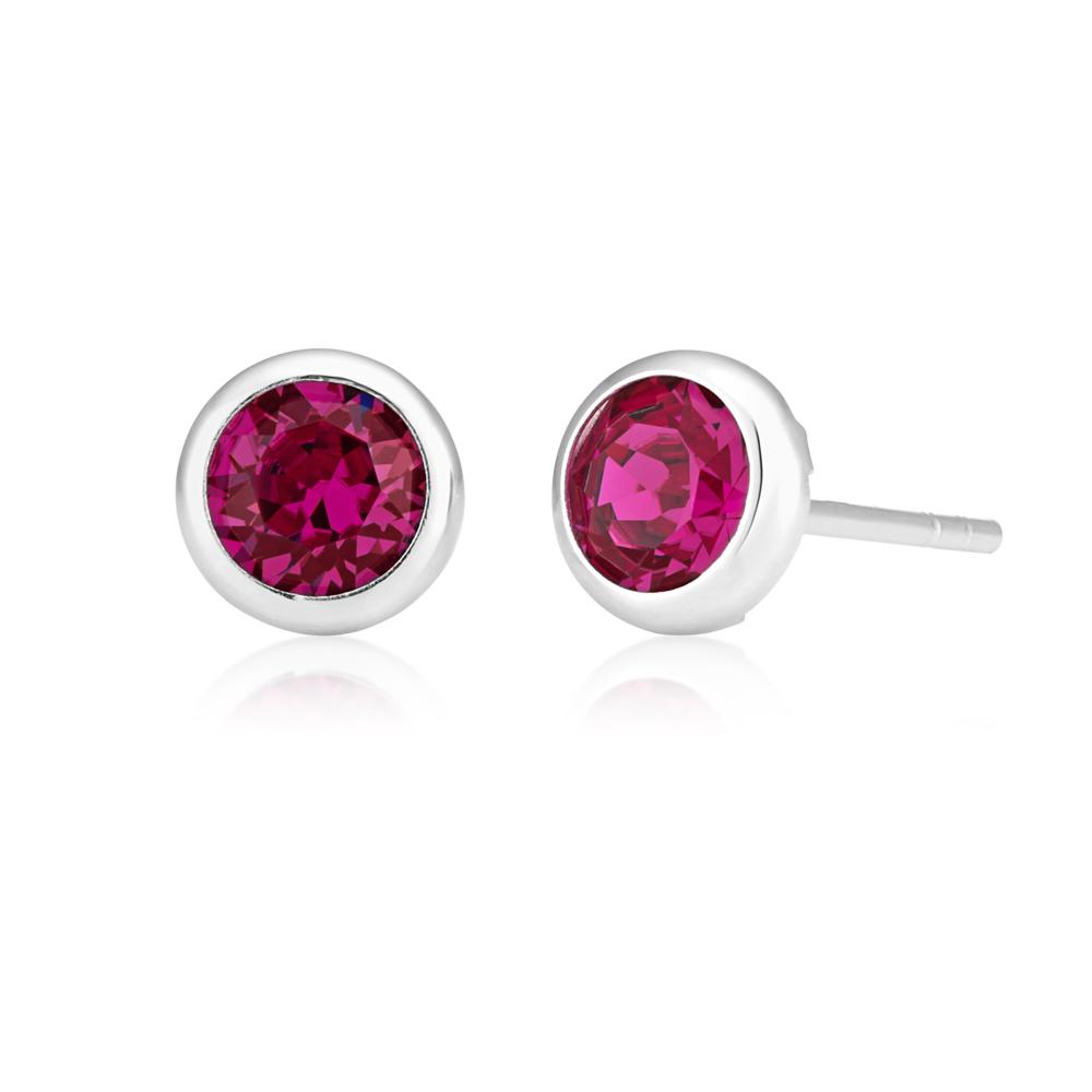 Sterling Silver Swarovski Fuchsia Crystal Stud Earrings