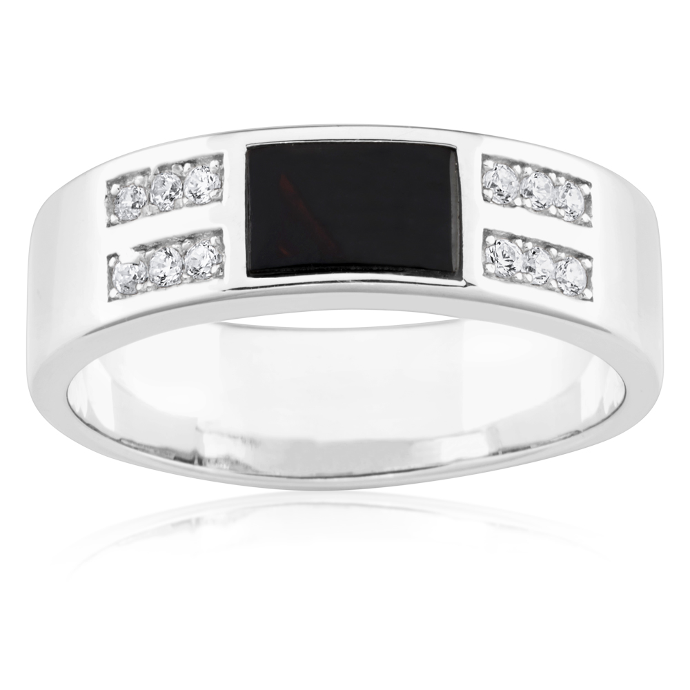 Sterling Silver Rectangle Onyx and Zirconia Gents Ring