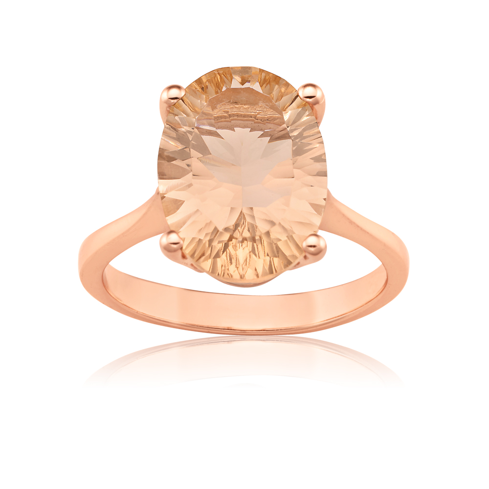 Rose Gold Plated Oval Shape Morgalite Pink Obsidian Ring