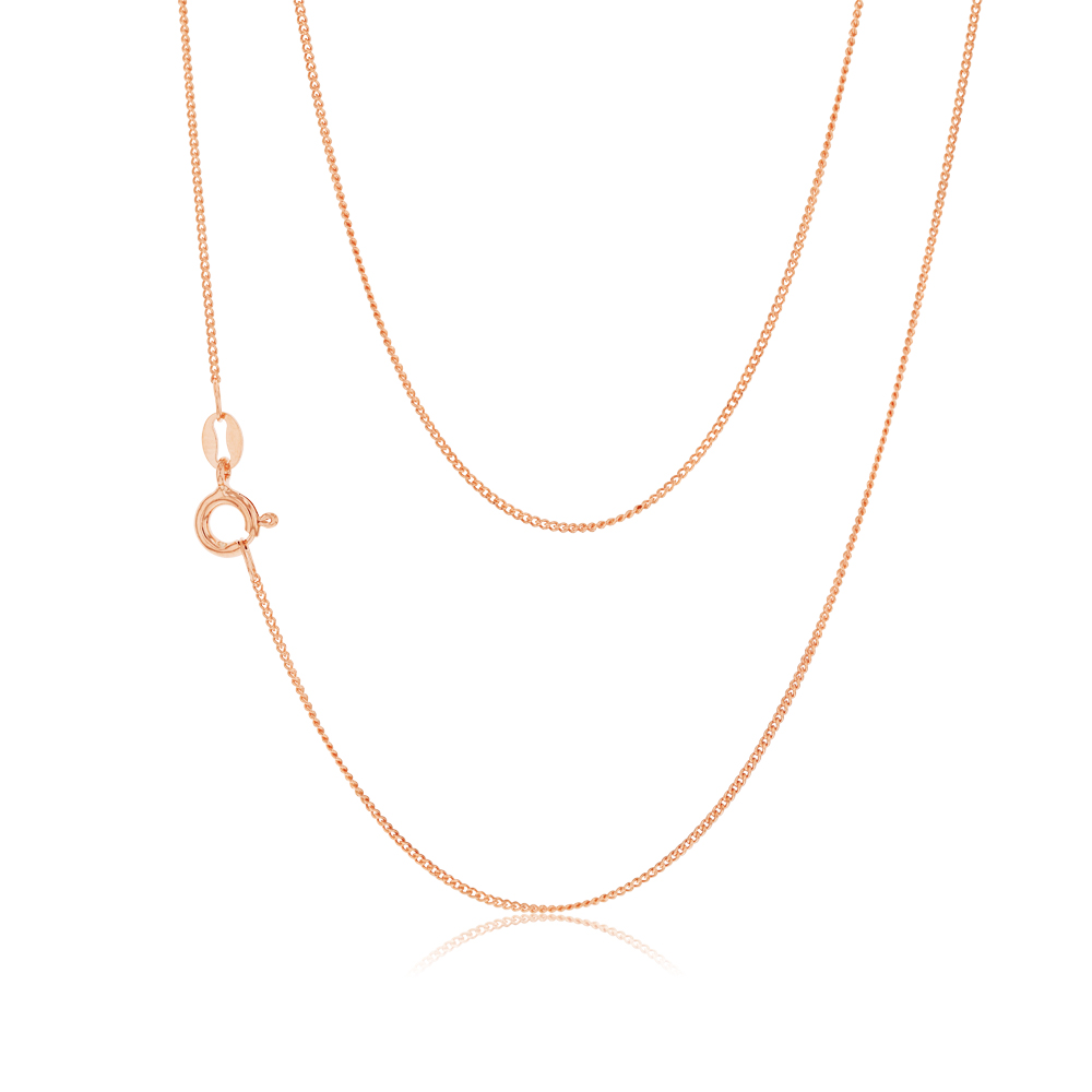 45cm Sterling Silver and Rose Gold Plated Curb Link Chain