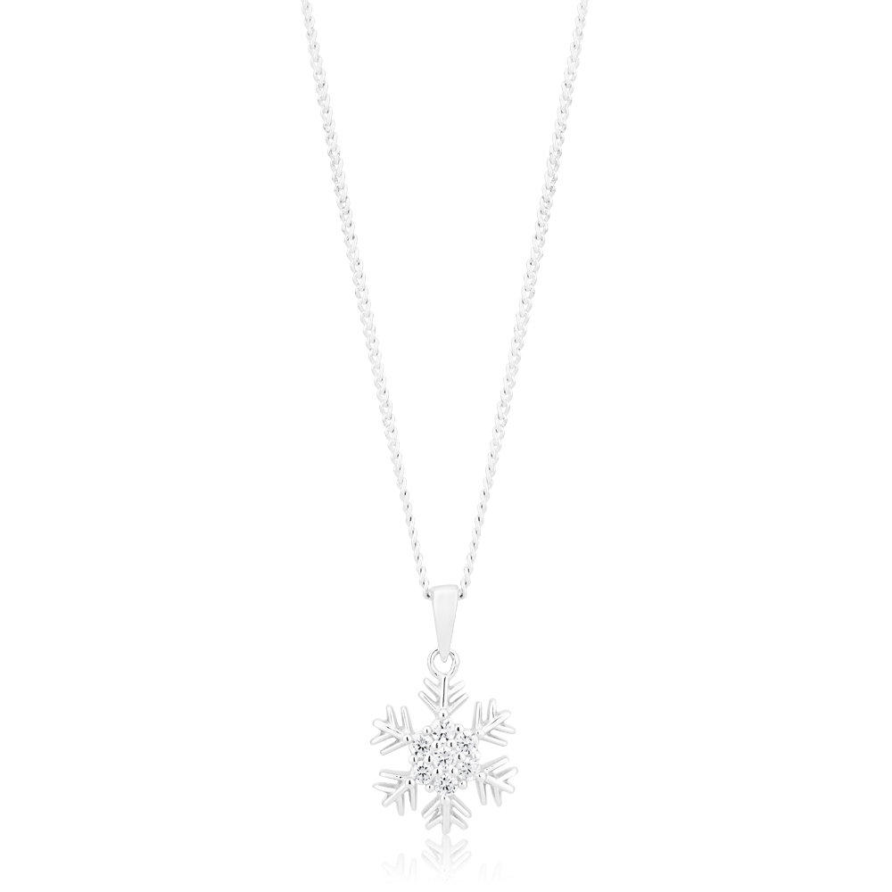 Sterling Silver Cubic Zirconia Snowflake Pendant