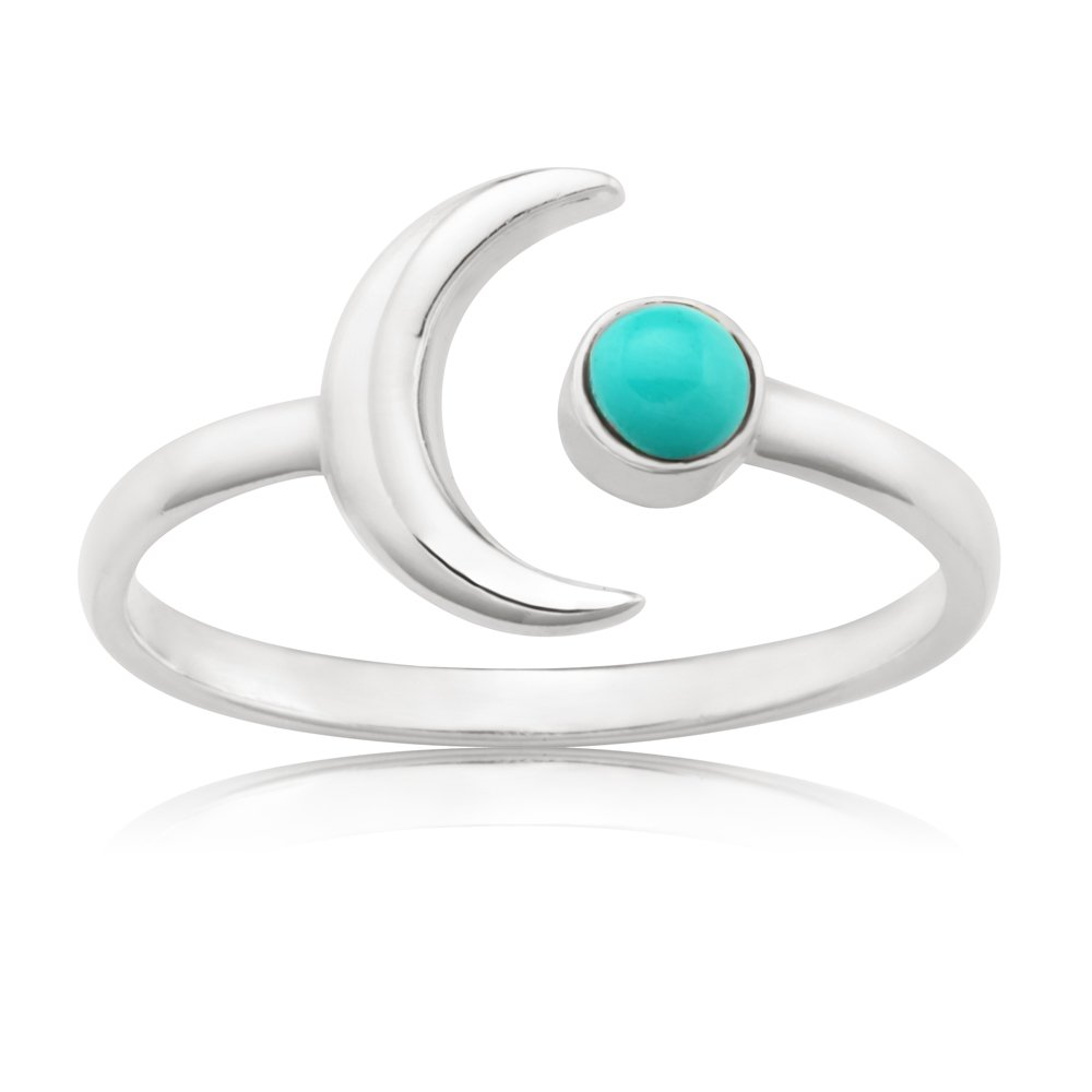 Sterling Silver Created Turquoise and Crescent Moon Ring