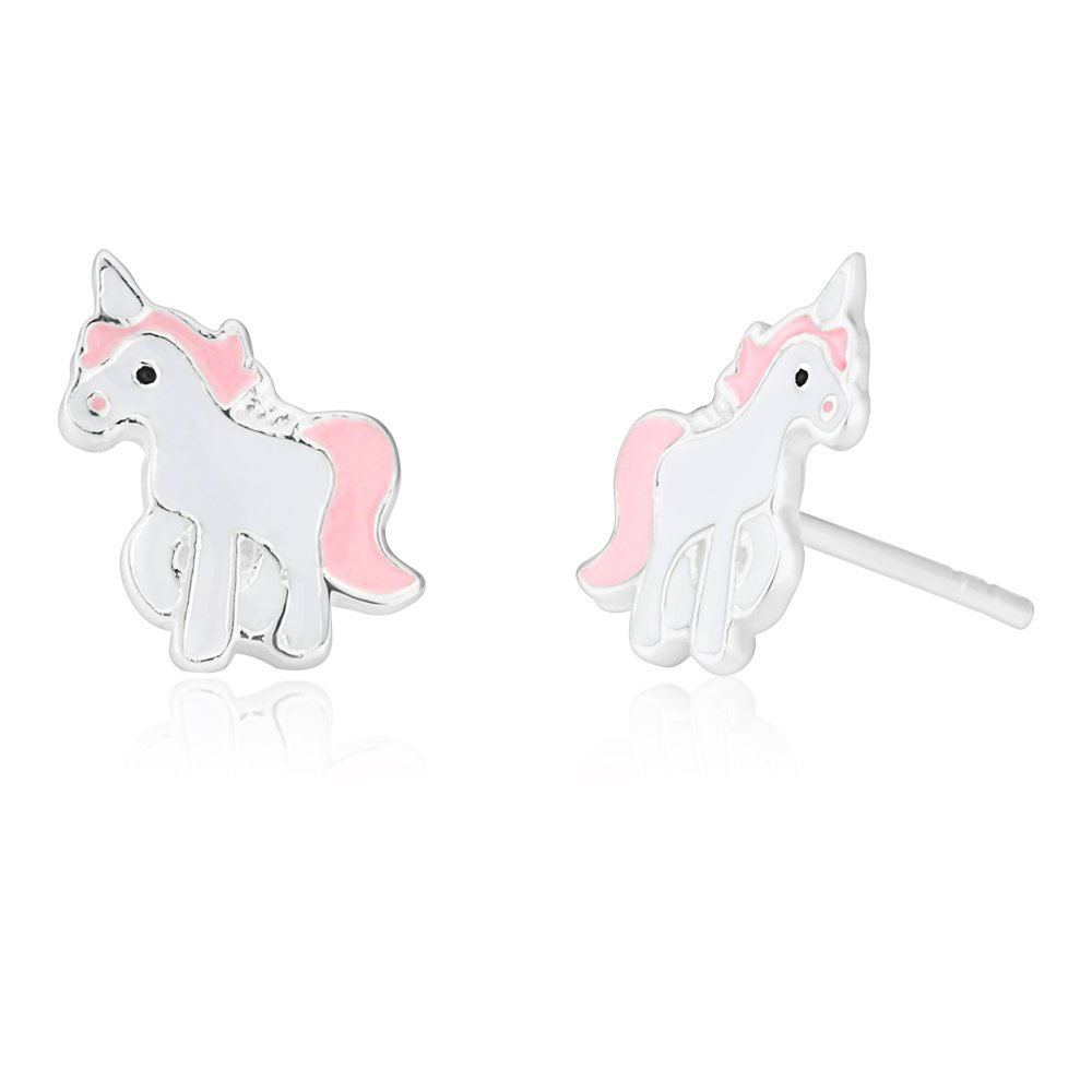 Sterling Silver Unicorn Pink and White Studs