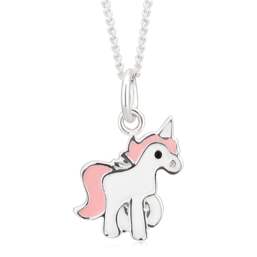 Sterling Silver Unicorn Pink and White Pendant