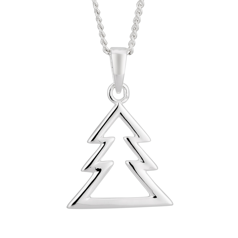Sterling Silver Christmas Tree Open Pendant