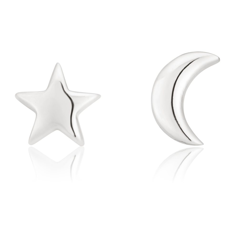 Sterling Silver Star and Crescent Moon Studs