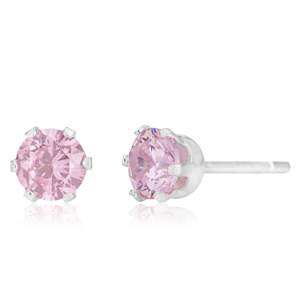 Sterling Silver 5mm 6 Claw Pink Crystal Studs