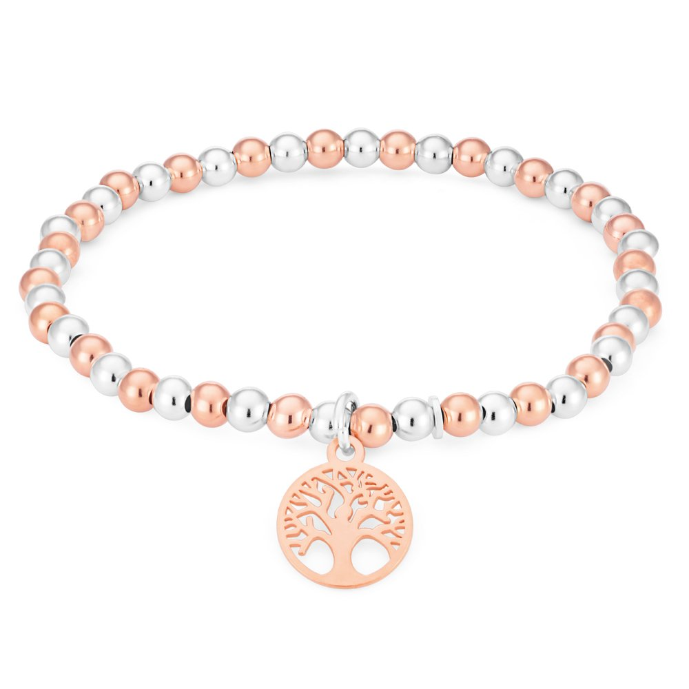 Sterling Silver Two Tone Beads Tree Of Life Charm Bracelet 19cm