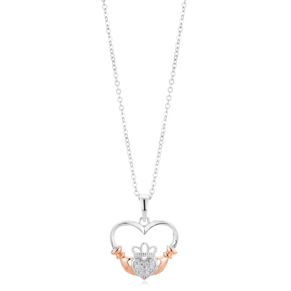 Sterling Silver and Rose Plated Zirconia Claddagh Pendant with Sterling Silver Chain