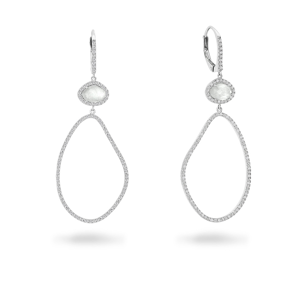 Sterling Silver Georgini Zirconia Oblong Drop Earrings