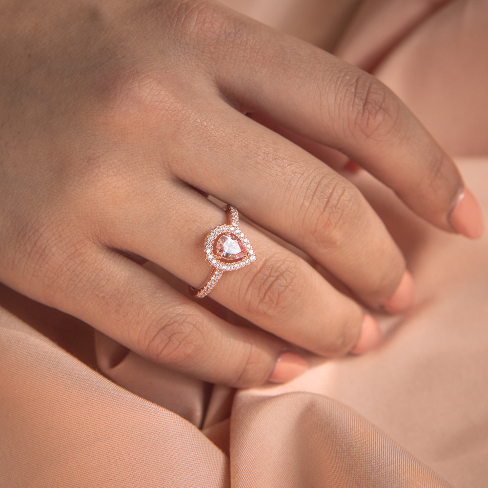 Sterling Silver and Rose Plated Zirconia Pear Ring   *No Resize*