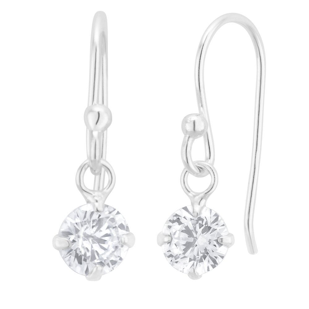 Sterling Silver Zirconia Round Drop Earrings