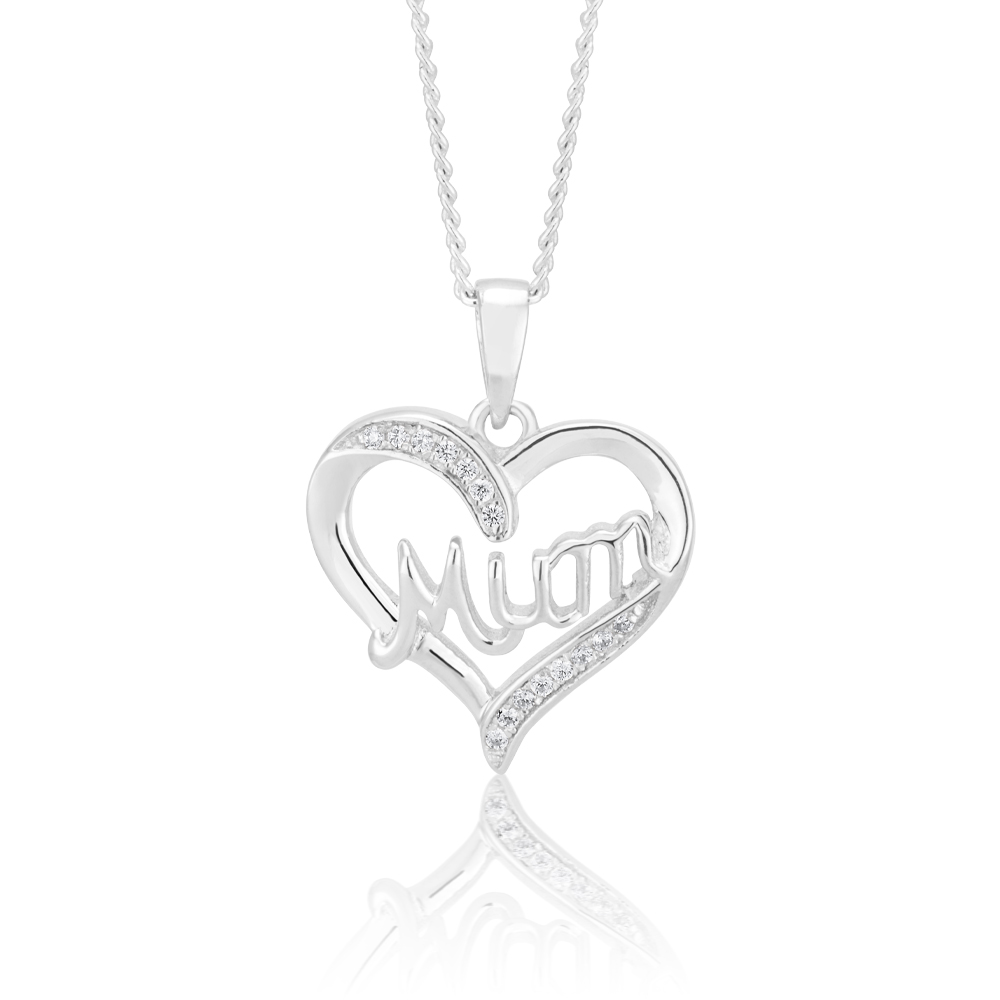 Sterling Silver Zirconia Mum Pendant in Heart