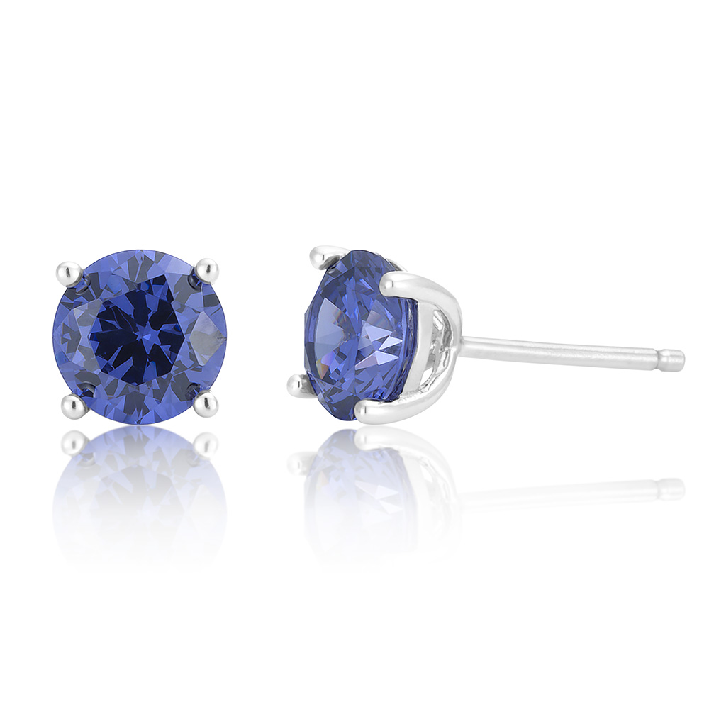 Sterling Silver Tanzanite Zirconia Stud Earrings