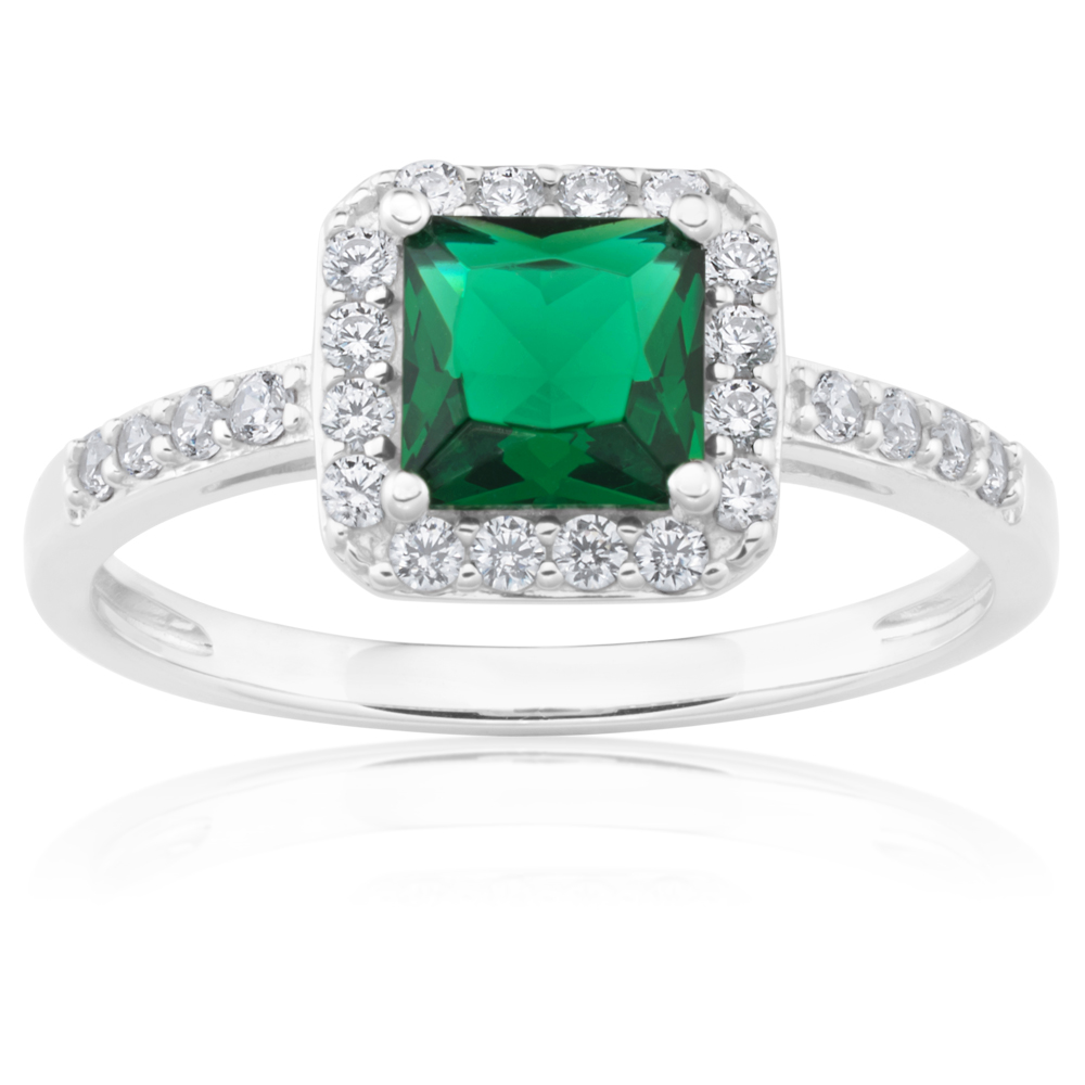 Sterling Silver Green and White Zirconia Cushion Cut Ring