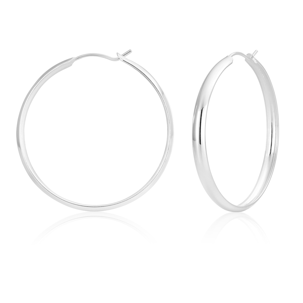 Sterling Silver 40mm Half Round Hoops