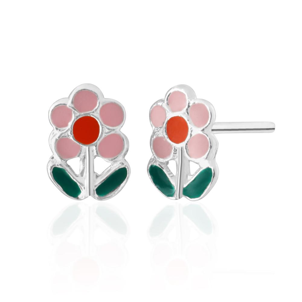 Sterling Silver Coloured Flower Stud Earrings