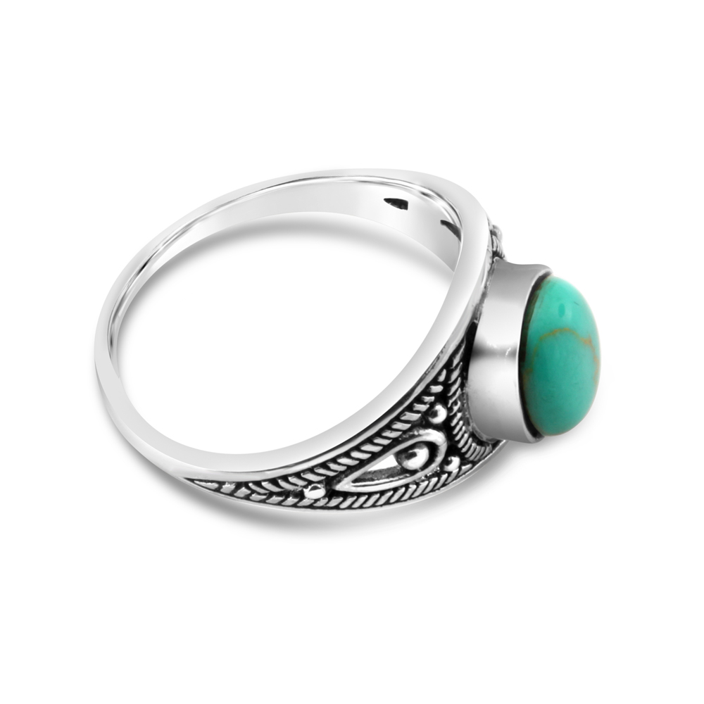 Sterling Silver Created Turquoise Oval Oxidised Ring