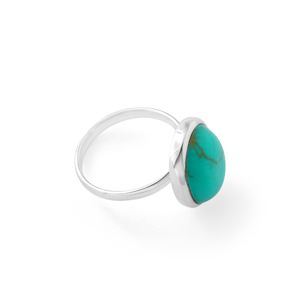 Sterling Silver Created Turquoise Large Oval Ring