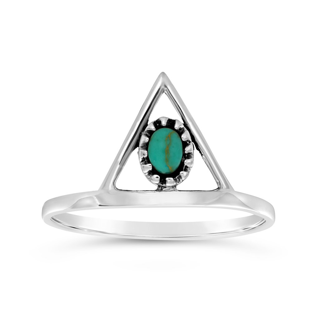 Sterling Silver Created Turquoise Oval and Triangle Ring